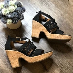 Eurosoft Sofft leather/cork heeled sandals-black 9